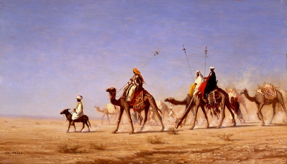 As romantic as this looks, caravans crossing deserts had to deal with extreme desert temperature and raids.